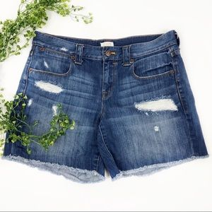 J Crew Distressed Boyfriend Jean Shorts 28 Frayed